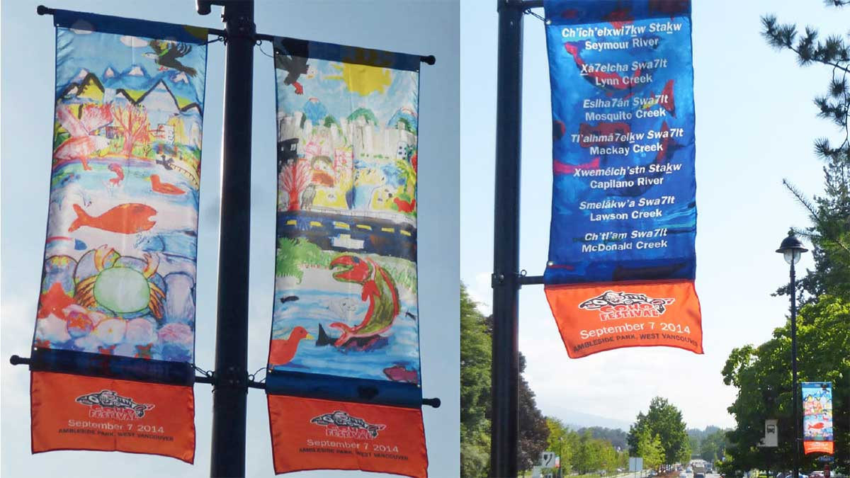 New street banners have popped up along two major North Shore thoroughfares that aim to remind commuters that wildlife also travels through the area.